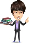 Fashionable Asian Man Cartoon Vector Character - with Books