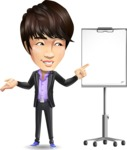 Fashionable Asian Man Cartoon Vector Character - with a Blank Presentation board
