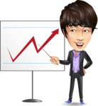 Fashionable Asian Man Cartoon Vector Character - Pointing on a Blank whiteboard