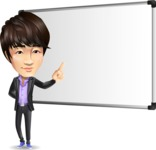 Fashionable Asian Man Cartoon Vector Character - Making a Presentation on a Blank white board