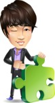 Fashionable Asian Man Cartoon Vector Character - with Puzzle