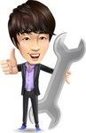 Fashionable Asian Man Cartoon Vector Character - with Repairing tool wrench