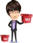 Fashionable Asian Man Cartoon Vector Character - with Sale boxes