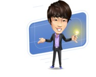 Fashionable Asian Man Cartoon Vector Character - Shape10