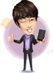 Fashionable Asian Man Cartoon Vector Character - Shape7