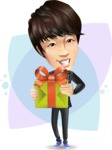 Fashionable Asian Man Cartoon Vector Character - Shape8