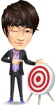 Fashionable Asian Man Cartoon Vector Character - with Target