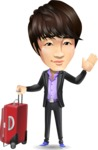 Fashionable Asian Man Cartoon Vector Character - with Suitcase