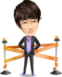 Fashionable Asian Man Cartoon Vector Character - with Under Construction sign