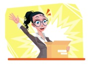 Modern Flat Business Woman Cartoon Character - Being excited with package