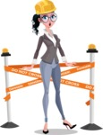 Modern Flat Business Woman Cartoon Character - Dressed as construction worker