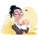 Modern Flat Business Woman Cartoon Character - Enjoying coffee
