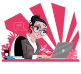 Modern Flat Business Woman Cartoon Character - Focused on work