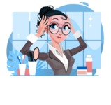 Modern Flat Business Woman Cartoon Character - Getting ready in the bathroom