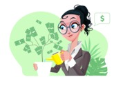 Modern Flat Business Woman Cartoon Character - Growing money plant