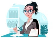 Modern Flat Business Woman Cartoon Character - Handing over constract