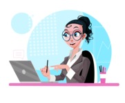 Modern Flat Business Woman Cartoon Character - In a video call on laptop
