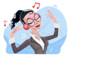 Modern Flat Business Woman Cartoon Character - Listening to music