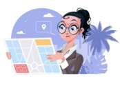 Modern Flat Business Woman Cartoon Character - Looking at map