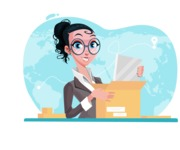 Modern Flat Business Woman Cartoon Character - Preparing to send a package