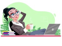 Modern Flat Business Woman Cartoon Character - Relaxing at desk