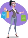 Modern Flat Business Woman Cartoon Character - shape9