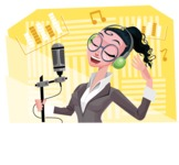 Modern Flat Business Woman Cartoon Character - Singing in a studio