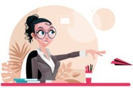 Modern Flat Business Woman Cartoon Character - Sitting at desk sending a paper airplane
