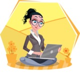 Modern Flat Business Woman Cartoon Character - Sitting on ground with laptop