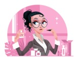 Modern Flat Business Woman Cartoon Character - Spraying perfume and touching up makeup
