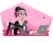 Modern Flat Business Woman Cartoon Character - Streaming on laptop
