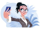 Modern Flat Business Woman Cartoon Character - Taking a selfie