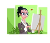 Modern Flat Business Woman Cartoon Character - Talking on phone