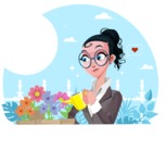 Modern Flat Business Woman Cartoon Character - Watering plants on terrace