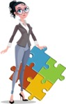 Modern Flat Business Woman Cartoon Character - With puzzle