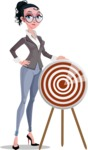 Modern Flat Business Woman Cartoon Character - With target