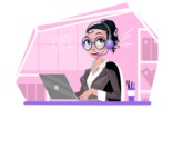 Modern Flat Business Woman Cartoon Character - Working as customer support