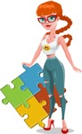 Modern Style Teenage Girl Cartoon Character - With puzzle