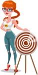 Modern Style Teenage Girl Cartoon Character - With target