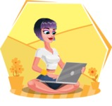 Modern Short Hair Girl Cartoon Character - Sitting on ground with laptop