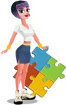 Modern Short Hair Girl Cartoon Character - With puzzle