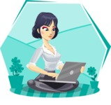 Modern Pretty Girl Cartoon Character - Sitting on ground with laptop