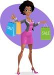 Modern African-American Girl Cartoon Character - shape9