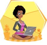 Modern African-American Girl Cartoon Character - Sitting on ground with laptop