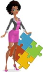 Modern African-American Girl Cartoon Character - With puzzle