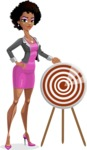 Modern African-American Girl Cartoon Character - With target