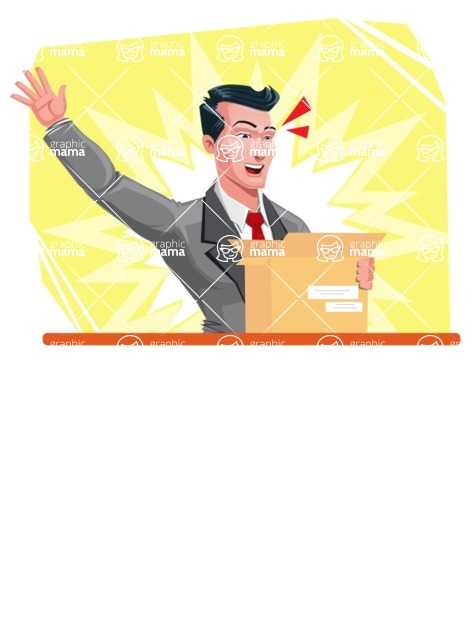 Modern Flat Style Businessman Cartoon Character - Being excited with package