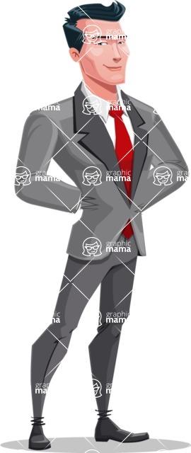 Modern Flat Style Businessman Cartoon Character - Being patient