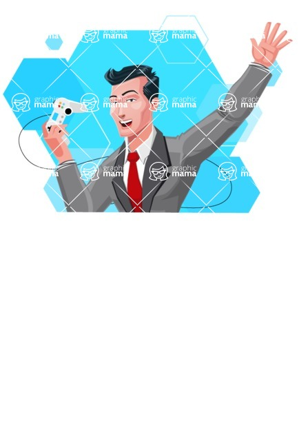 Modern Flat Style Businessman Cartoon Character - Excited holding a joystick