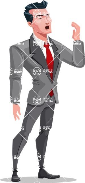 Modern Flat Style Businessman Cartoon Character - Feeling bored